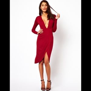 Asos Deep Plunge Wrap Midi Dress